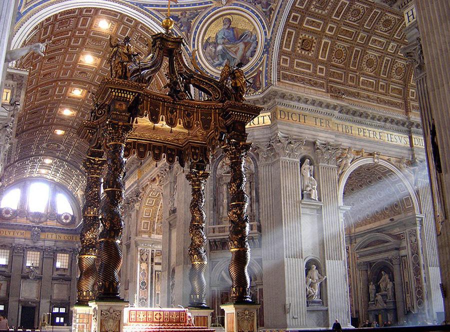 Baldachim nad grobem św. Piotra, 1624-33. Źródło: www.wikipedia.pl