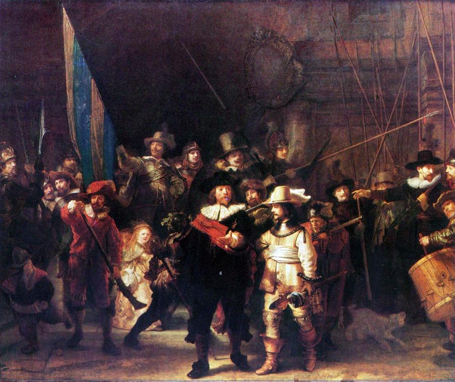 Wymarsz strzelców. Rembrandt [Public domain or Public domain], via Wikimedia Commons